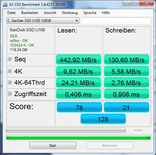 SanSisk SSD U100 128GB - AS